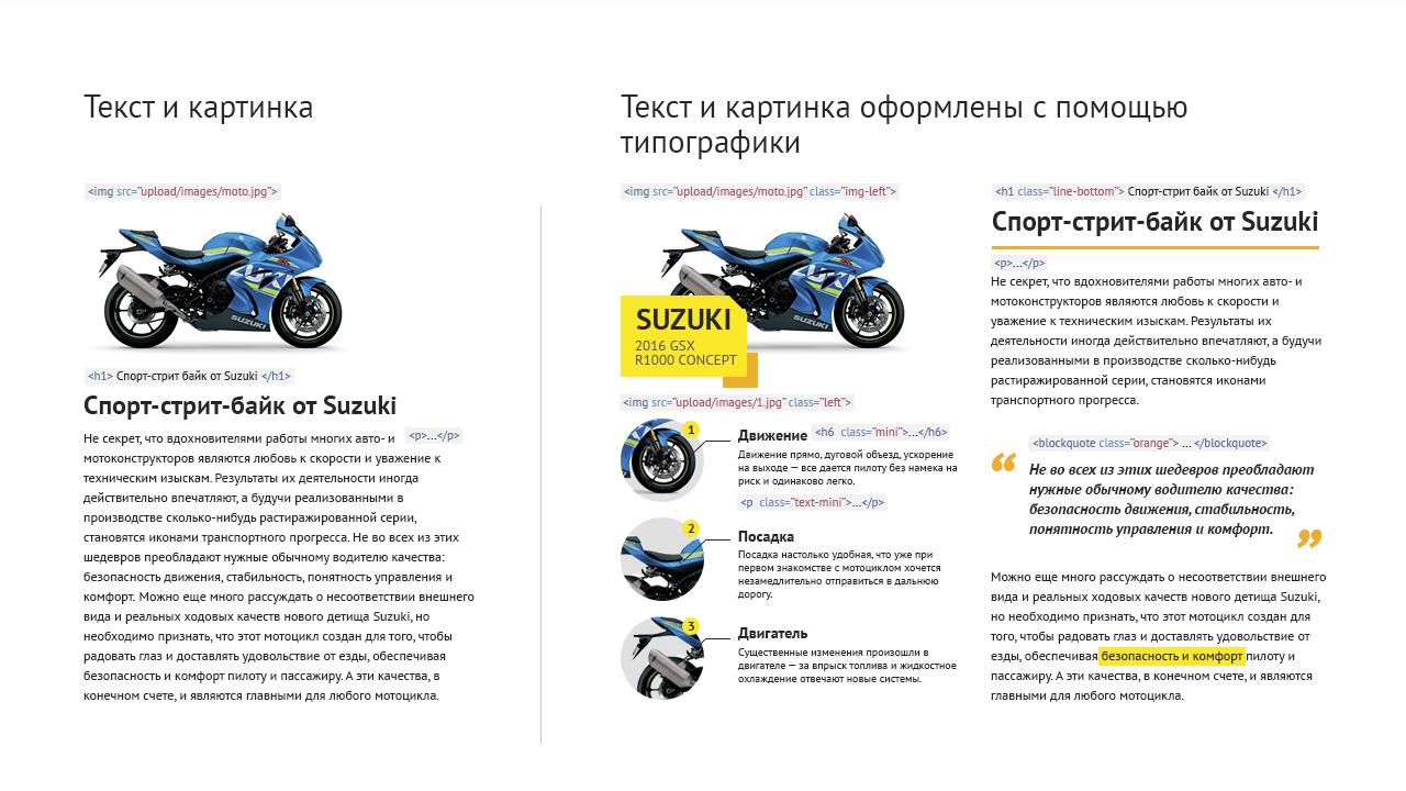 Разница оформления текста